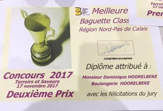 trophée-2017-BAGUETTE-Dominique-HOORELBEKE Concours Talmeliers 2017